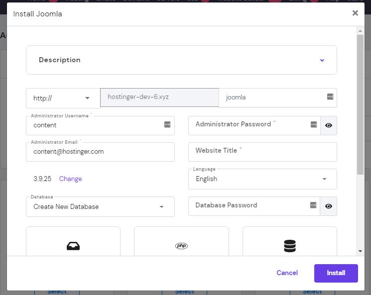 Screenshot of how to install Joomla through Hostinger