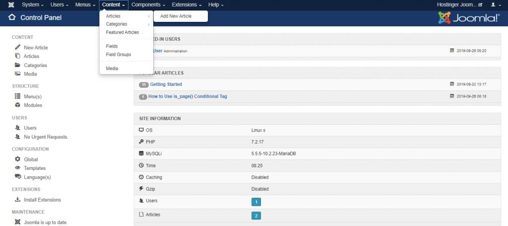 Screenshot of the content tab in Joomla