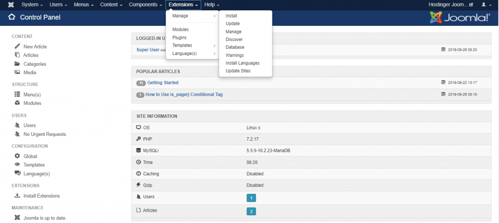 Screenshot of the extensions tab in Joomla