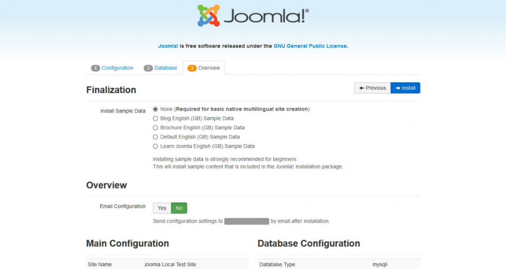 Screenshot of the finalization page on Joomla