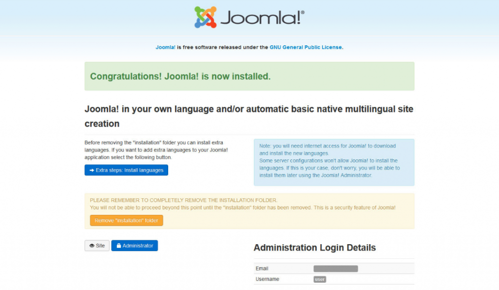 Screenshot of the congratulations banner when finishing the Joomla install