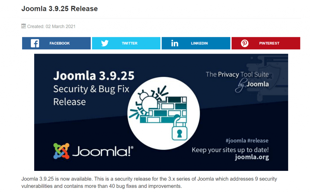 Screenshot of the newest version of Joomla