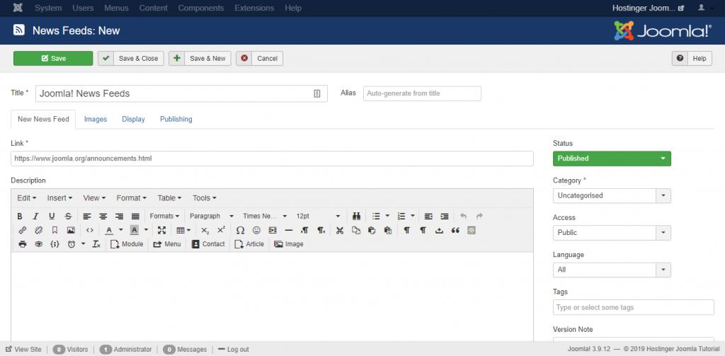 Screenshot of the news feed editor in Joomla