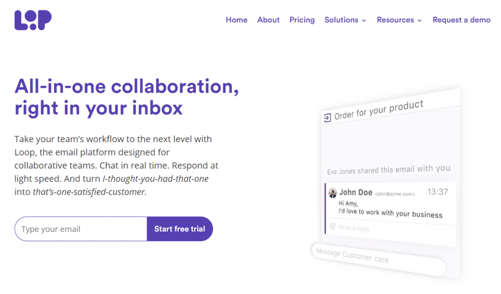 Loop homepage featuring an all-in-one collaboration, right in your inbox app