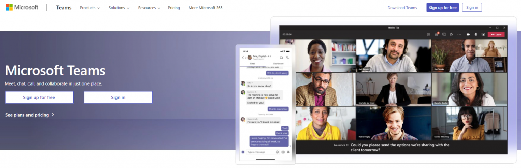 Microsoft Team sign up for free, homepage, previewing the messaging app and video call