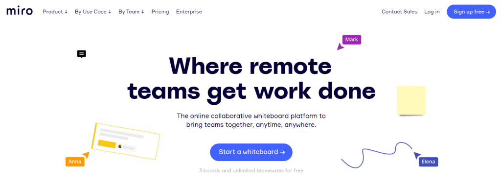 Miro homepage featuring where remote teams get work done and to start a whiteboard