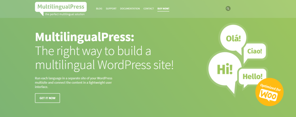 "MultilingualPress homepage ""The right way to build a multilingual WordPress site!"