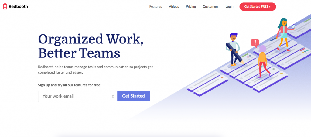 Redbooth homepage featuring organized work and better teams