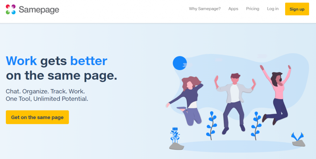 Samepage homepage featuring work getting better on the same page
