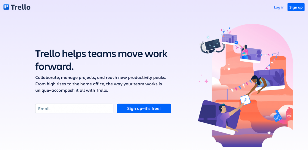 Trello homepage featuring that Trello helps teams move work forward