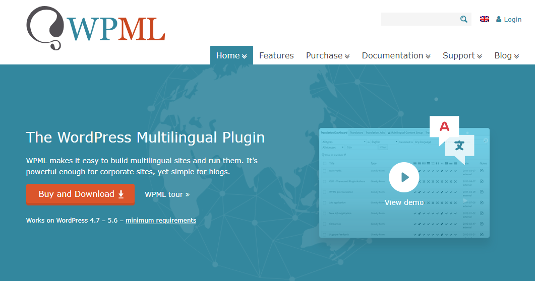 "WPML homepage ""The WordPress Multilingual Plugin"""