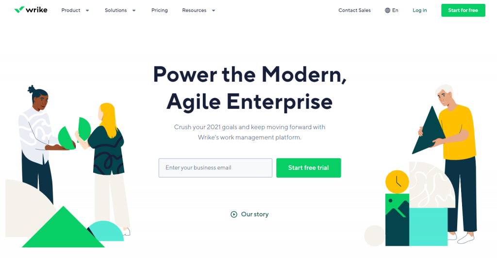 Wrike homepage featuring the power of modern, agile enterprise