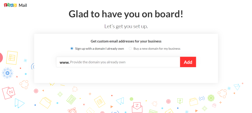 Screenshot of Zoho Mail onboarding welcome page