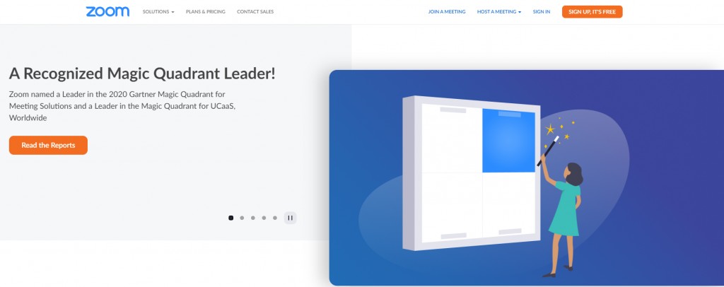 Zoom home page featuring their achievements in 2020 Gartner Magic Quadrant