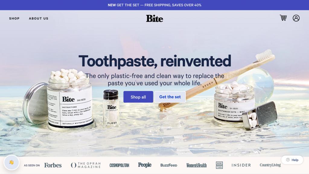 Homepage of Bite