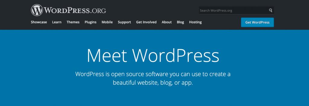 Landing page of WordPress.org