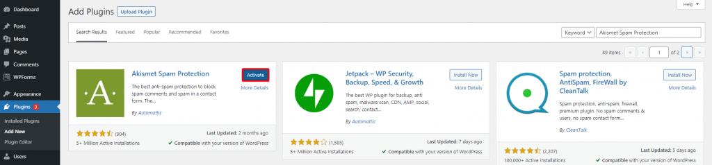 WordPress dashboard highlighting the plugins button