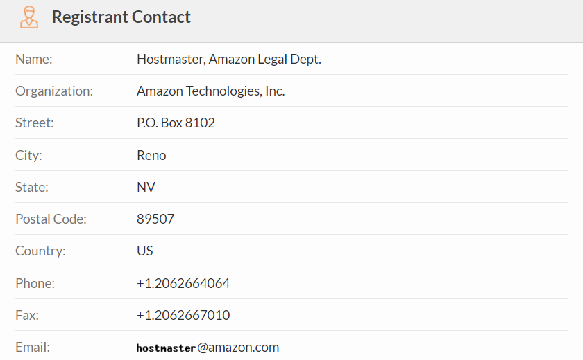 Image of Amazon's domain registrant contact information on WHOIS