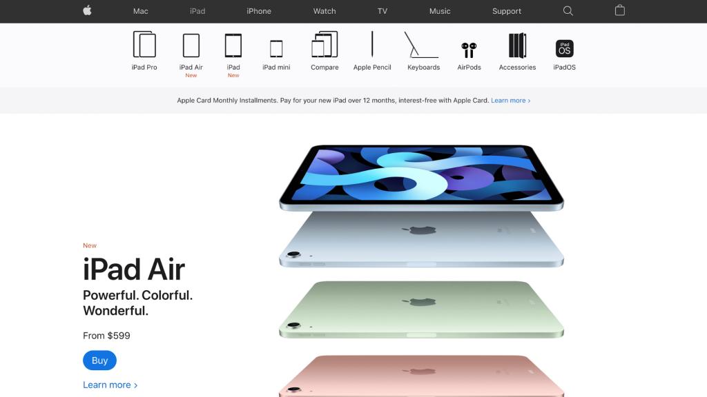 Homepage of Apple