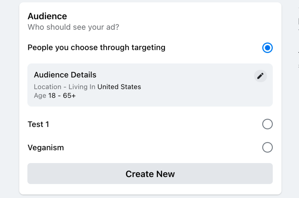Example of targeting audience by age and location
