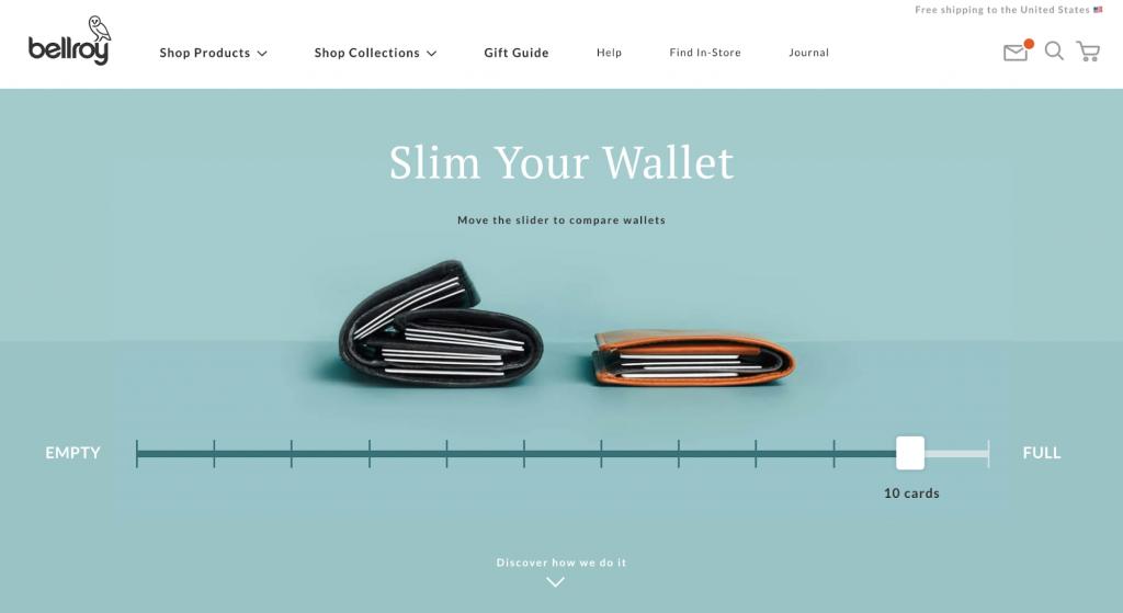 Homepage of Bellroy