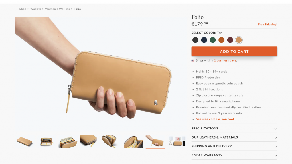 Product page of Bellroy website
