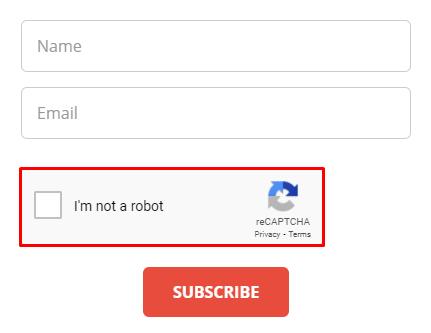 Checkbox reCAPTCHA test example.