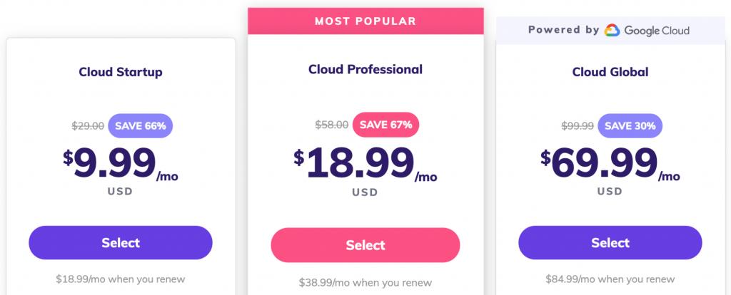 Cloud hosting plans at Hostinger