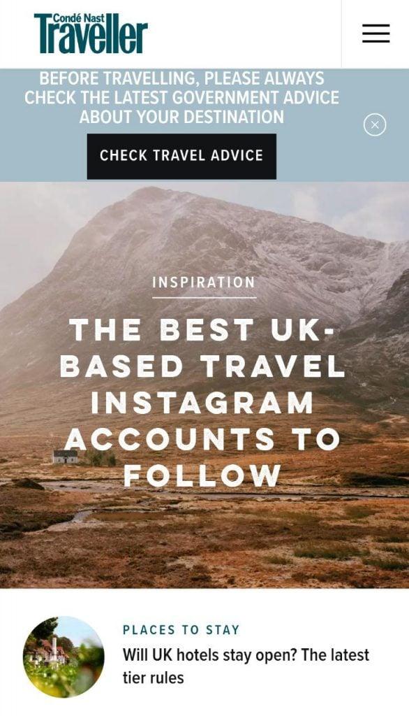 Conde Nast Traveller's website for mobile