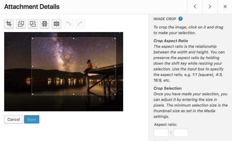 Cropping images through WordPress dashboard