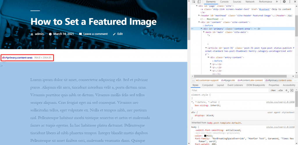 Finding image dimensions through Google's inspect tool