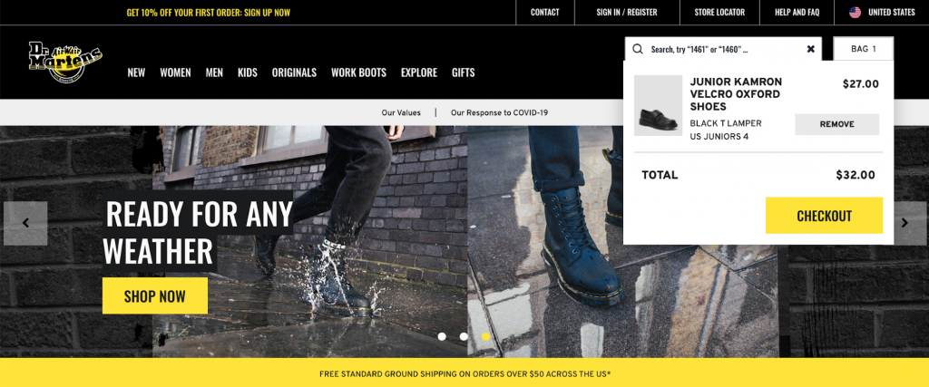 Homepage of Dr. Martens