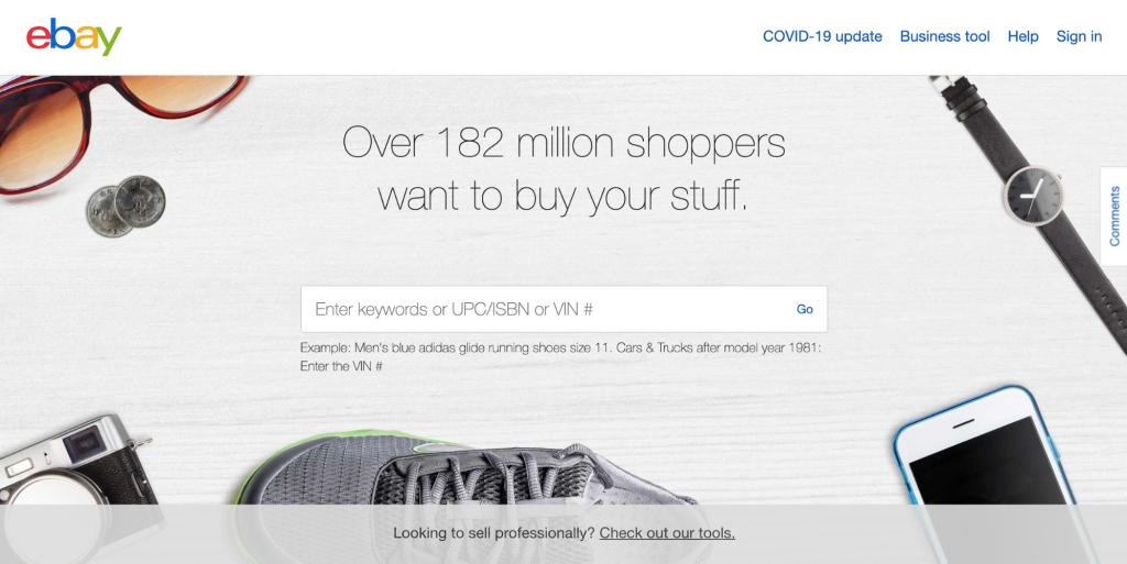 Homepage of eBay