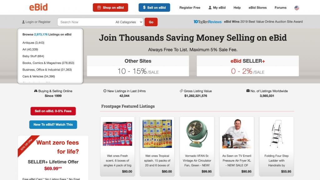 eBid homepage
