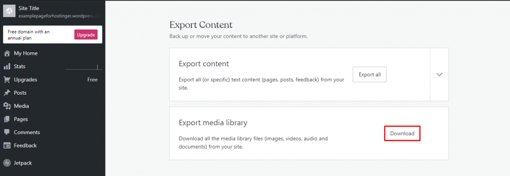 Download button to Export media library from your wordpress dashboard