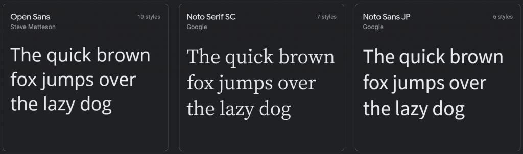 Font comparison: Open Sans vs Noto Serif SC vs Noto Sans JP