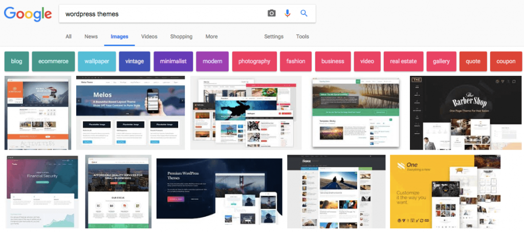 """Google image results for """"WordPress themes"""" search query"""