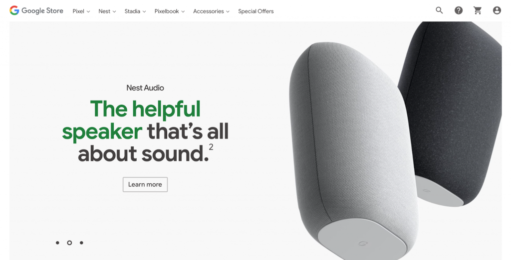 Homepage of Google Store