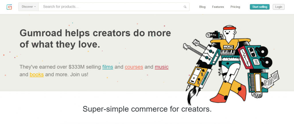 Homepage of Gumroad, an eCommerce platform for creators
