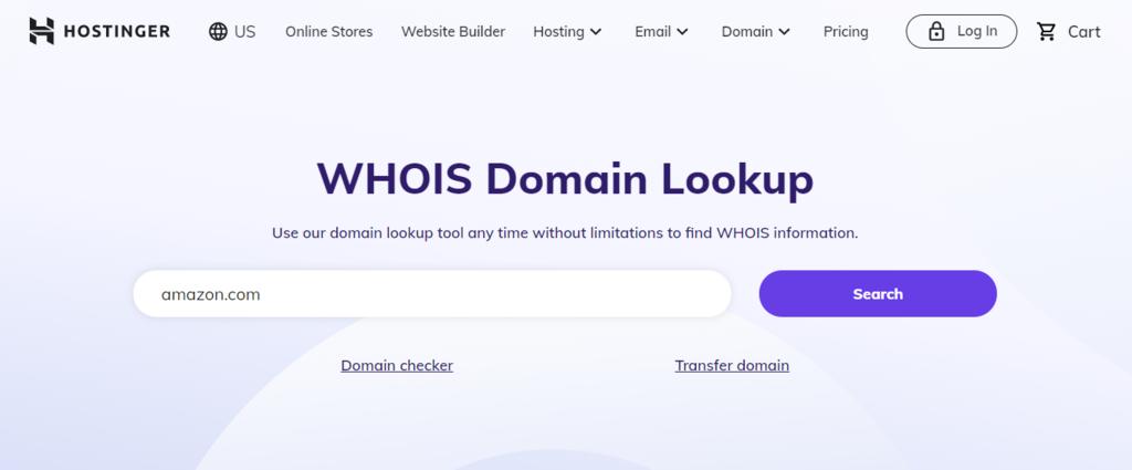 Image of Hostinger's WHOIS Lookup service banner