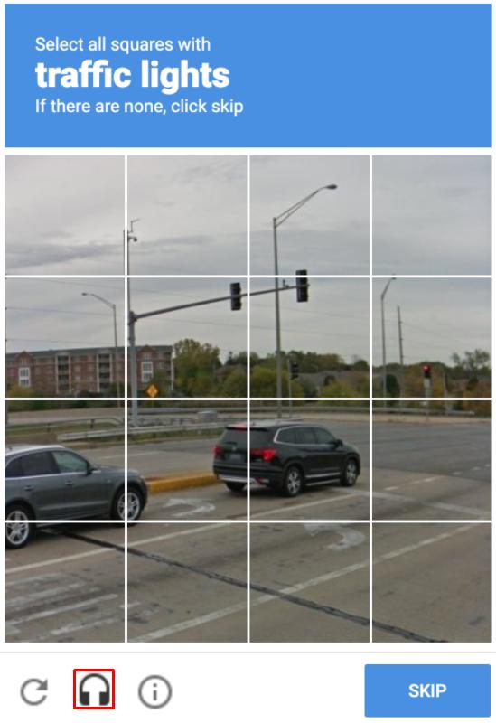 Image reCAPTCHA test example.