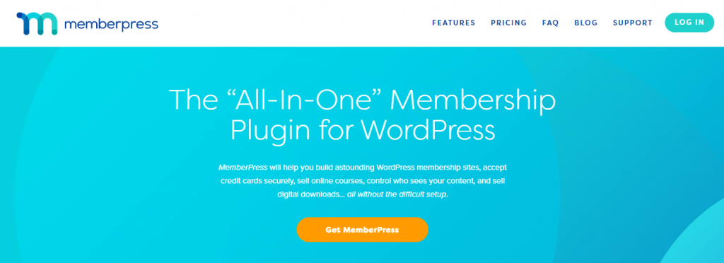 Homepage of MemberPress, a WordPress plugin for selling subscription-based digital downloads