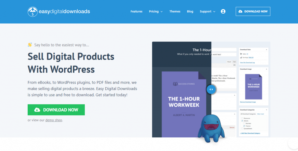 Homepage of Easy Digital Downloads, the go-to plugin to sell digital downloads