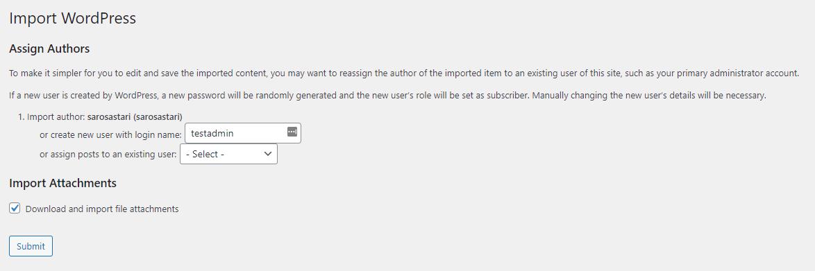 import wordpress settings options
