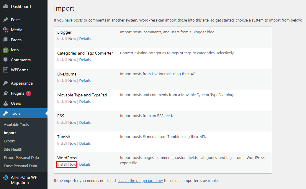 install now button to install wordpress on dashboard