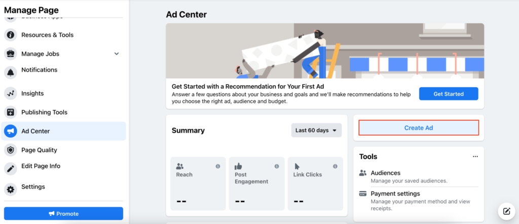 Ad center with Create Ad selected