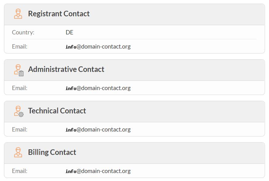 Image of dummy emails masking a domain registrant's contact information on WHOIS