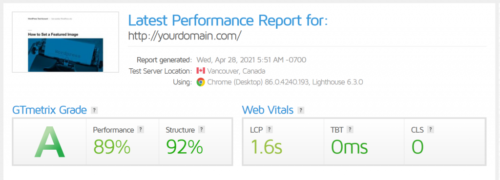 GTmextrix performance report for a domain name