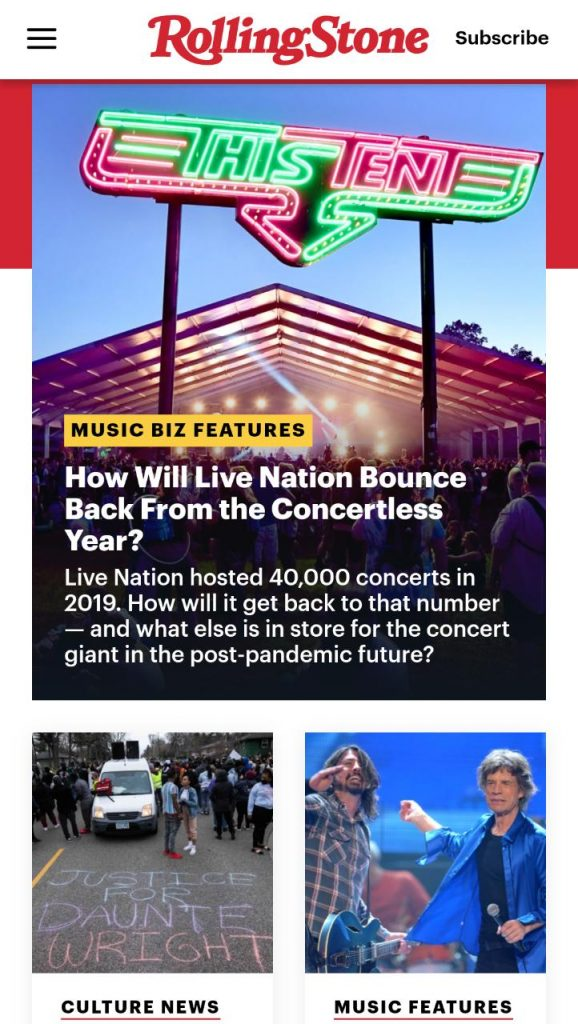 Rolling Stone's website for mobile devices