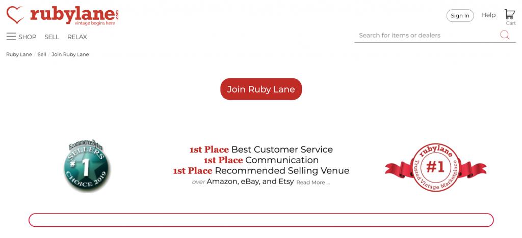 Ruby Lane homepage